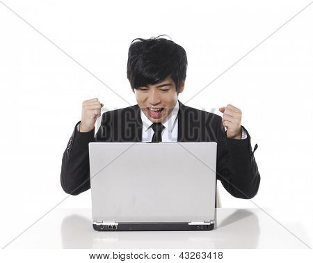 Young business man relax with happily after working