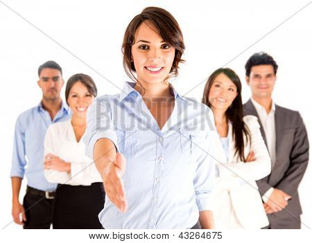Business woman with hand extended to handshake - isolated over white