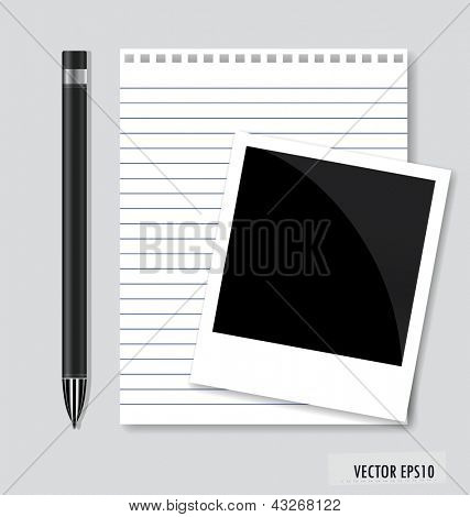 Rahmen, Stift und Papier, bereit für Ihren Text. Vektor-Illustration.