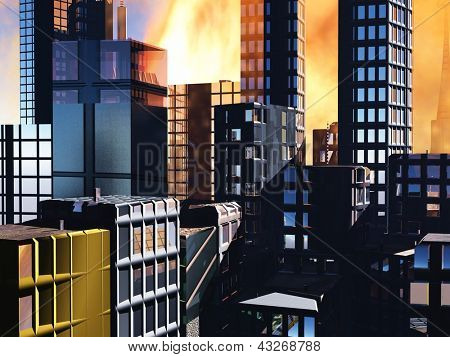 Armageddon  scene in city after a war or a natural disaster