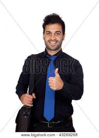 Young businessman saying Ok isolated on white background