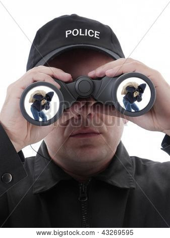 Policeman spotting masked burglar carrying bag with stolen things, through binocular, conceptual shot on white