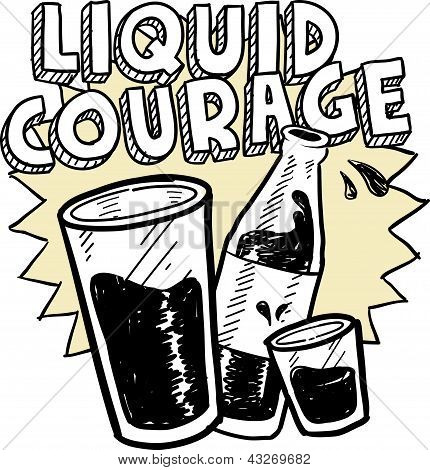 Liquid courage alcohol sketch