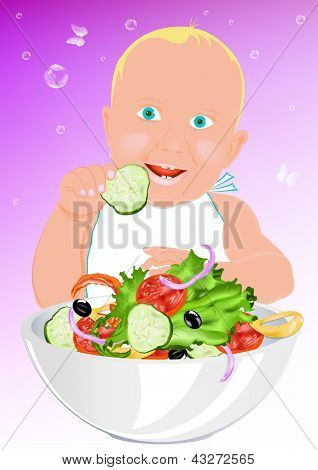 Child and fresh vegetable salad