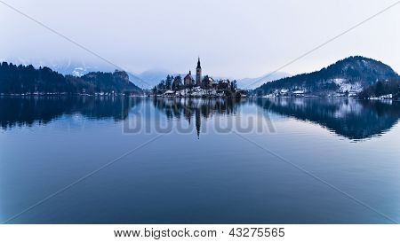Perfect symetry of a lake and church on small island