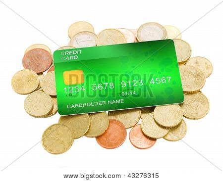 pile of coins and plastic card