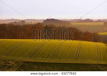 Gently rolling hills farmland of Germany Europe