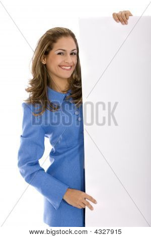 Business Woman Holding An Add