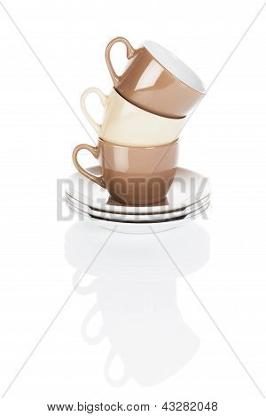 brown and fawn stapled coffee cups