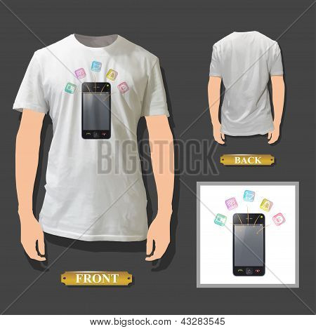 Phone With Icons Printed On White Shirt. Realistic Vector Illustration.