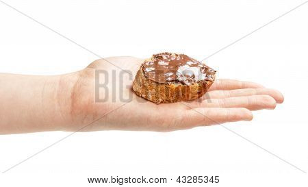 Baguette Slice Spread With Nut-choco Paste In Female Hand