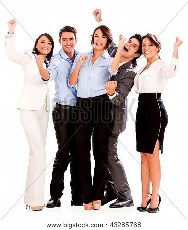 Happy business team celebrating with arms up - isolated over white