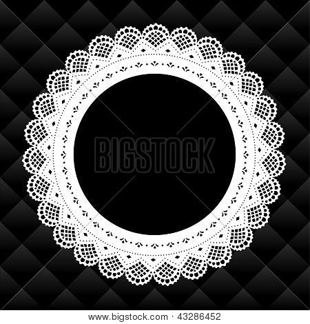 Vintage Lace Doily Frame, Quilted Background