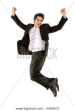 Business Man Jumping Of Success