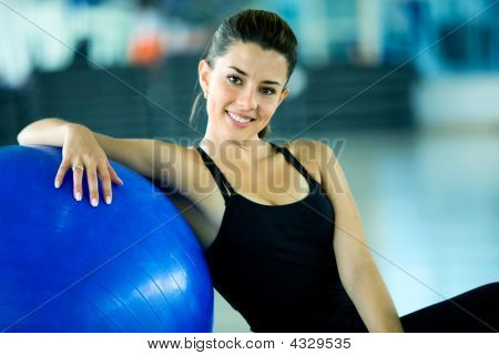 Gym Woman Doing Pilates