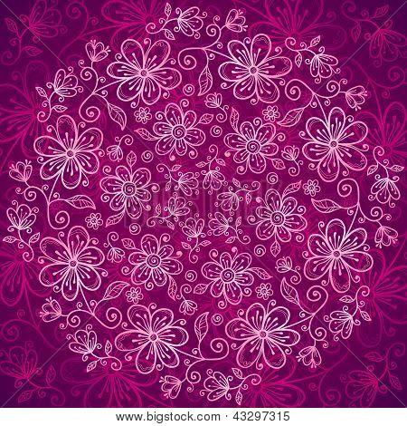 Vinous lacy vintage flowers vector background