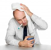 foto of rhinitis  - Diseased man in the office - JPG