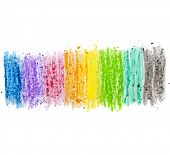 image of sticks  - colorful texture pastel stick dust on white paper isolated - JPG