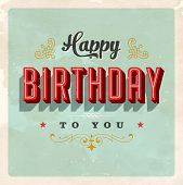 Vintage Birthday Card - Vector EPS10. Grunge effects can be easily removed for a brand new, clean si