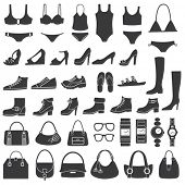 picture of black heel  - Set of vector silhouettes - JPG
