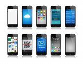 picture of electronic commerce  - Collection of mobile phone like apple iphone interface designs showing different functions and apps - JPG