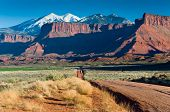 image of dirt road  - Dirt road neat Fisher Towers Moab Utah - JPG