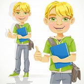 Blond teenage boy with a textbook shows ok