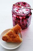 Croissant And  Pot Of Jam