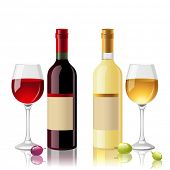 pic of merlot  - 2 bottles of red and white wine with full glasses - JPG
