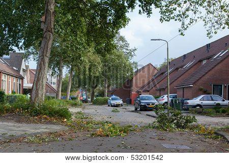 Leeuwarden, Netherlands, Oktober 28, 2013: Massive Storm Hit The North Of The Netherlands, Total Dam