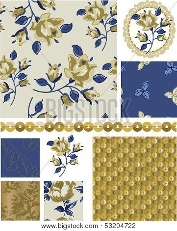 Floral Rose Vector Seamless Patterns and Elements.  Great to use as pattern fills or digital paper.