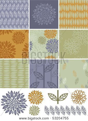 Pretty autumn floral vector seamless patterns and icons. Great for digital skins, wallpaper, backgrounds or even print onto fabrics to create stunning home furnishings.