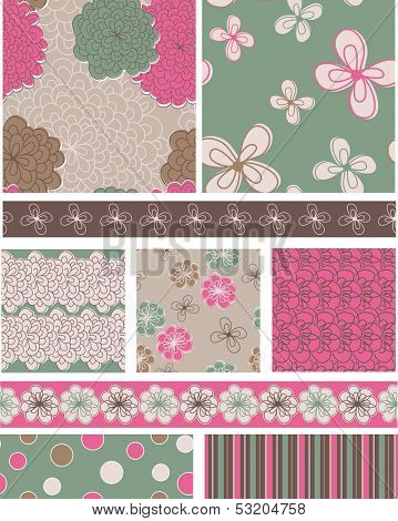 Modern Vector Floral Seamless Patterns and Trims.  Use as fills for digital paper, backgrounds or print onto fabric to create unique home furnishings.