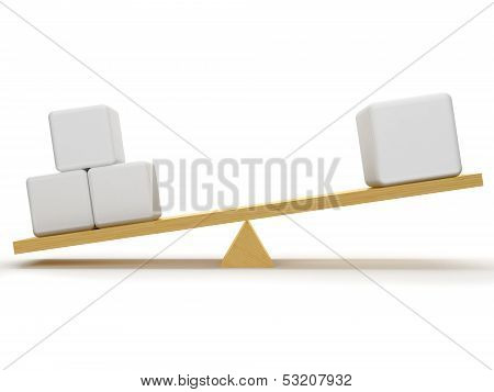 Overbalance Between Three Small And One Big Cube