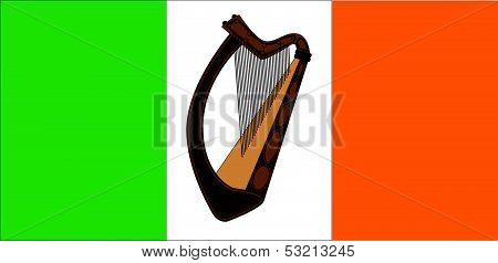 Irish Flag With Harp