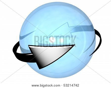 Two grey cyclic arrows  turning around a sphere