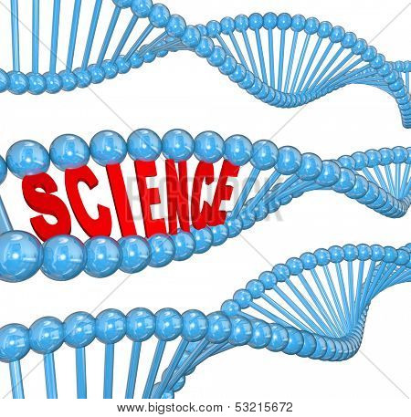 The word Science in a DNA strand to illustrate education and learning of biology and heredity