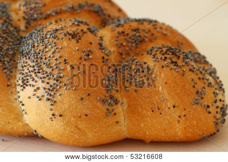 Challah bread with poppy seeds, close up