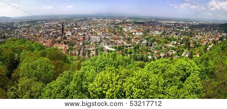 Panoramic View Of Freiburg Im Breisgau City, Germany