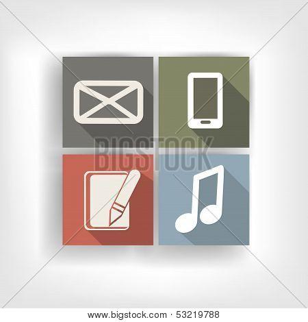 Abstract social media bottons, flat design
