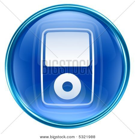 Mp3 Player Blue, Isolated On White Background