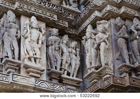 Human Sculptors Of Vishvanatha Temple, Khajuraho, India - UNESCO world heritage site.