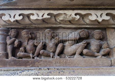 Human Sculptors Depicting Domestic Life, Khajuraho - India. UNESCO world heritage site.