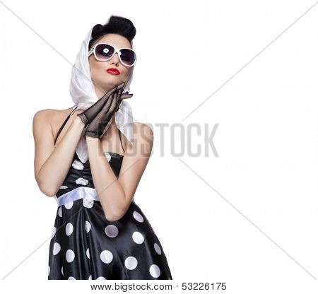 young beautiful caucasian woman posing, isolated over white, retro styling, space for copy