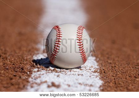 Baseball Centered on the Infield Chalk Line