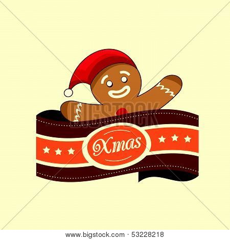 Gingerbread Man Christmas Label