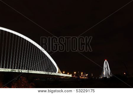 Bridge At Night In Reggio Emilia, Italy
