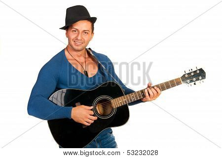Cool Guy With Hat Playing Guitar