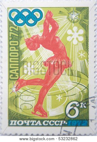 RUSSIA - CIRCA 1972: stamp printed by USSR shows Russian figured skiing on Olympic Games Sapporo 72