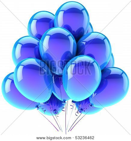 Balloons party happy birthday blue cyan decoration. Joy fun happiness abstract